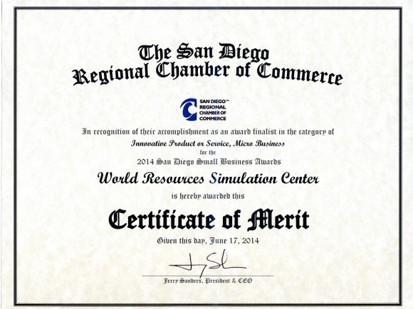 San Diego Regional Chamber of Commerce SimCenter Certificate of Merit Awards
